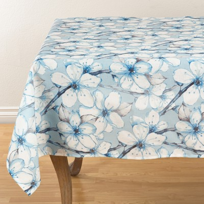 Dewy Blooms Watercolor Tablecloths, Table Runners And Table Throws 55  Blue - Saro Lifestyle