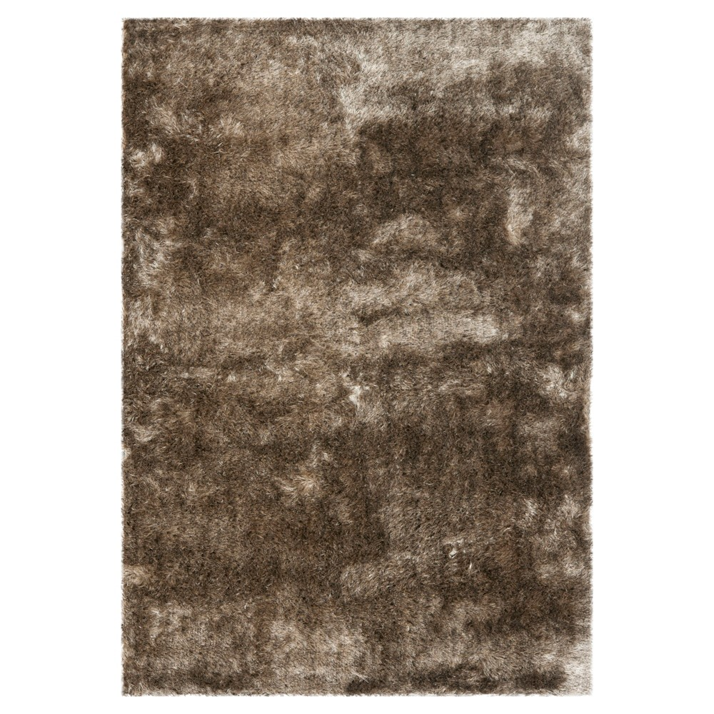 Solid Loomed Area Rug Light Brown