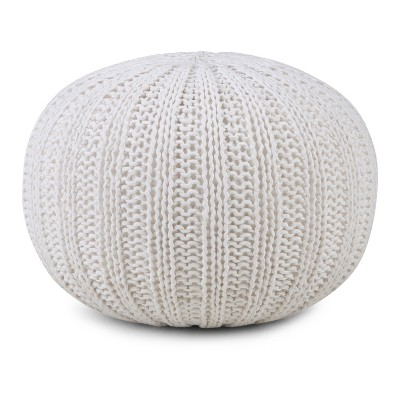 Grandville Hand Knit Round Pouf Cream Cotton - Wyndenhall