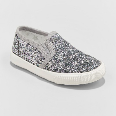 Toddler Girls' Madigan Slip on Glitter Sneakers - Cat & Jack™ Silver 5