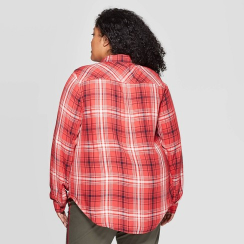095f2a2d Women's Plus Size Plaid Long Sleeve Collared Button-Down Shirt - Universal  Thread™ Red