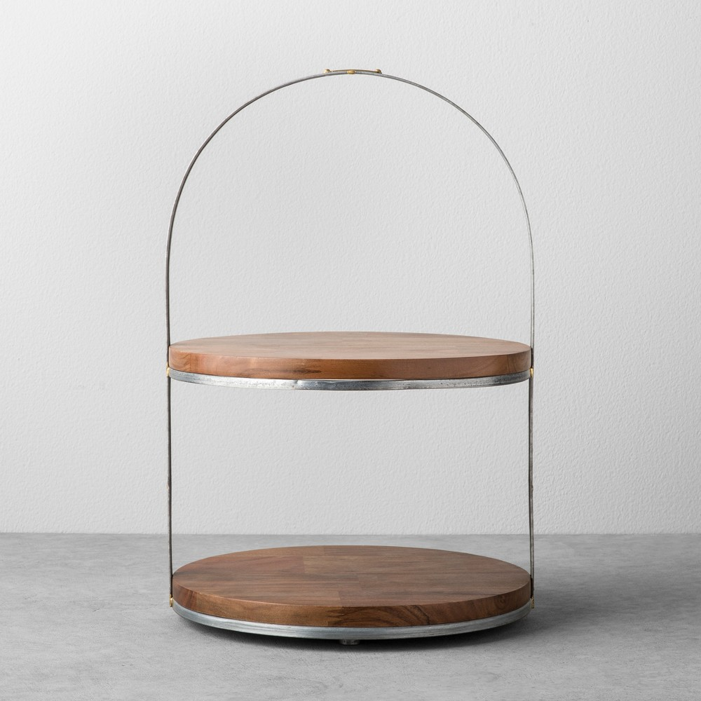 Image of 2-Tier Wood & Metal Cake Stand - Hearth & Hand with Magnolia