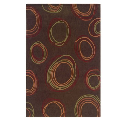 5'x7' Trio Collection Contemporary Swirl Area Rug Chocolate/Rust - Linon