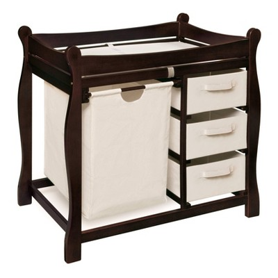 Badger Basket Changing Table with Hamper and Baskets - Espresso