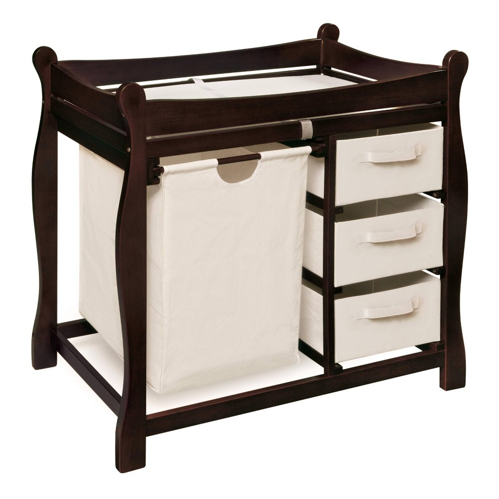 Image of Badger Basket Changing Table with Hamper and Baskets - Espresso, Brown