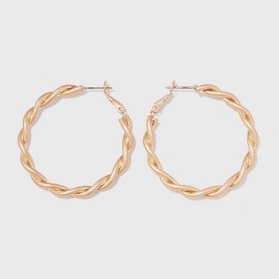 Worn Gold Twisted Lever Back Hoop Earrings - Universal Thread™ Gold