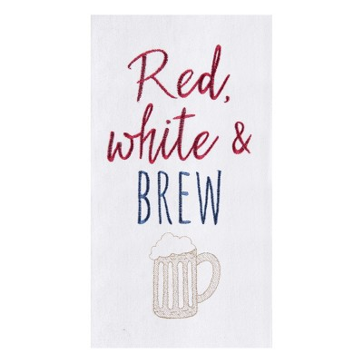 C&F Home Red, White and Brew Flour Sack Embroidered Cotton Kitchen Towel