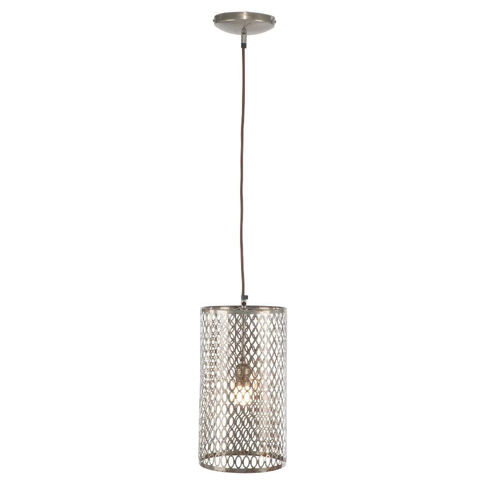 A&b Home Long Barrel Pierced Pendant Lamp - Steel (Silver)