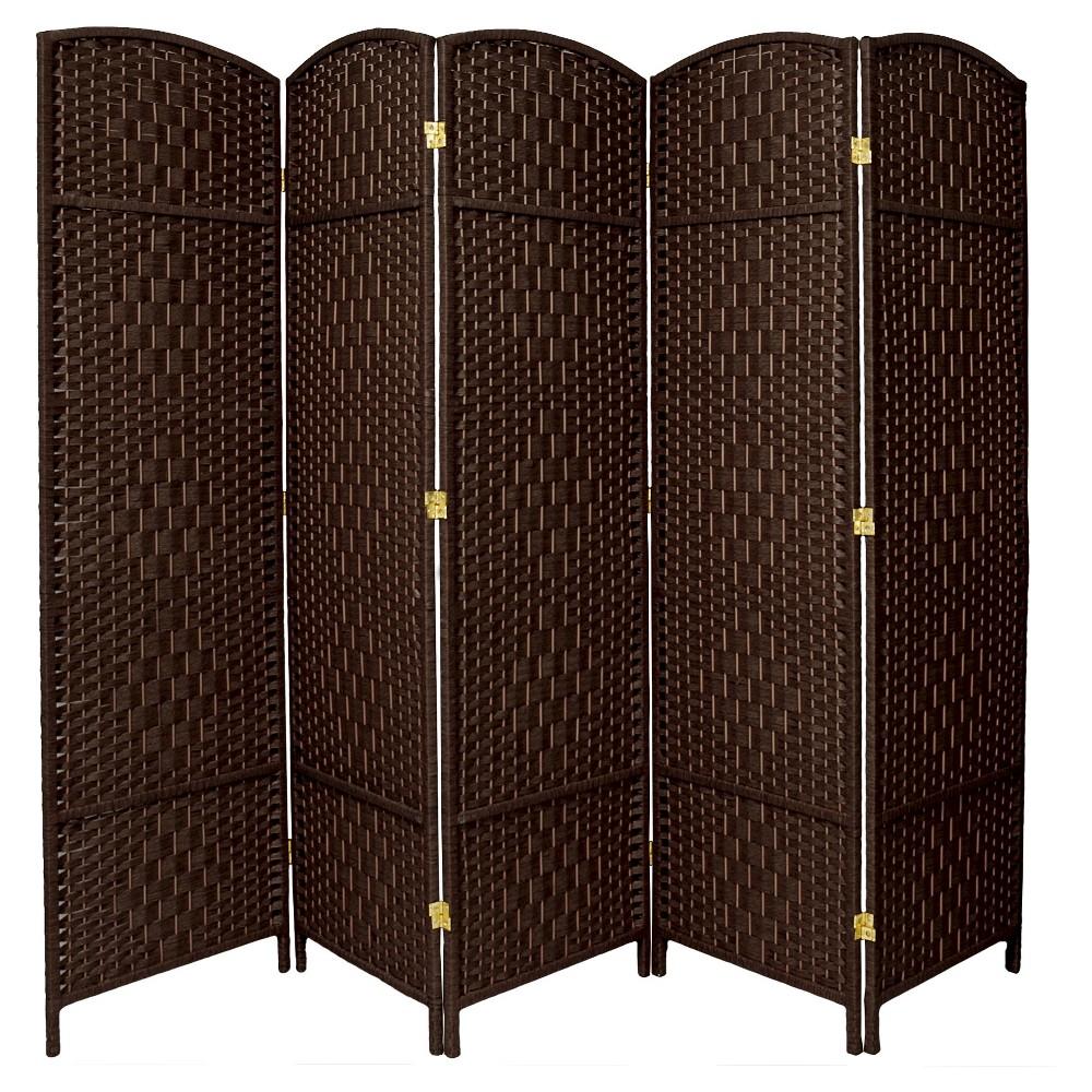 6 ft. Tall Diamond Weave Fiber Room Divider - Dark Mocha (5 Panels), Brown