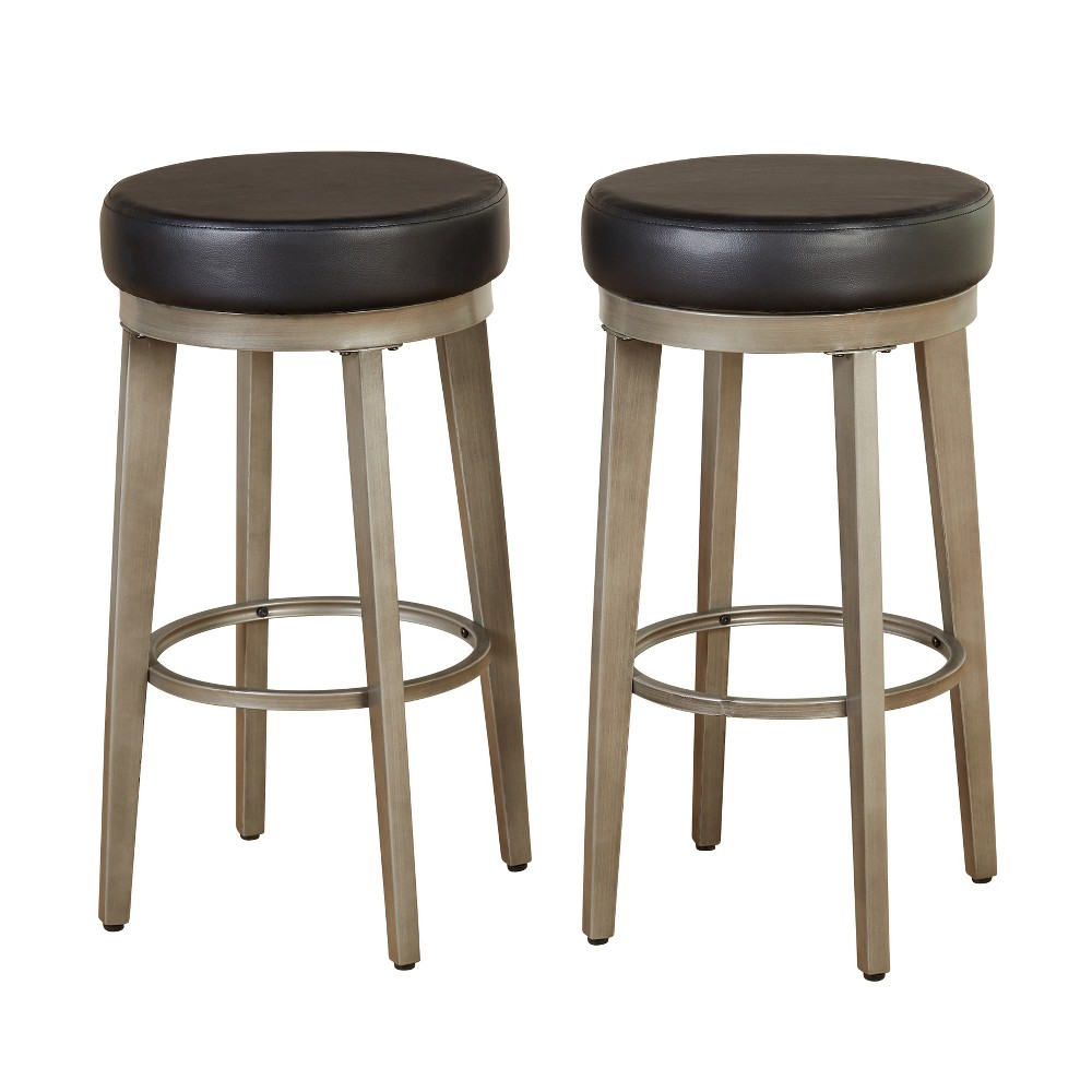 "Image of ""Set of 2 30"""" Linden Swivel Stool Black - Angelo:Home"""