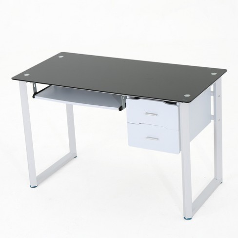 Reeve Tempered Glass Desk - Black/White - Christopher Knight Home - image 1 of 4