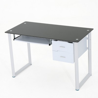 Superbe Reeve Tempered Glass Desk   Black/White   Christopher Knight Home