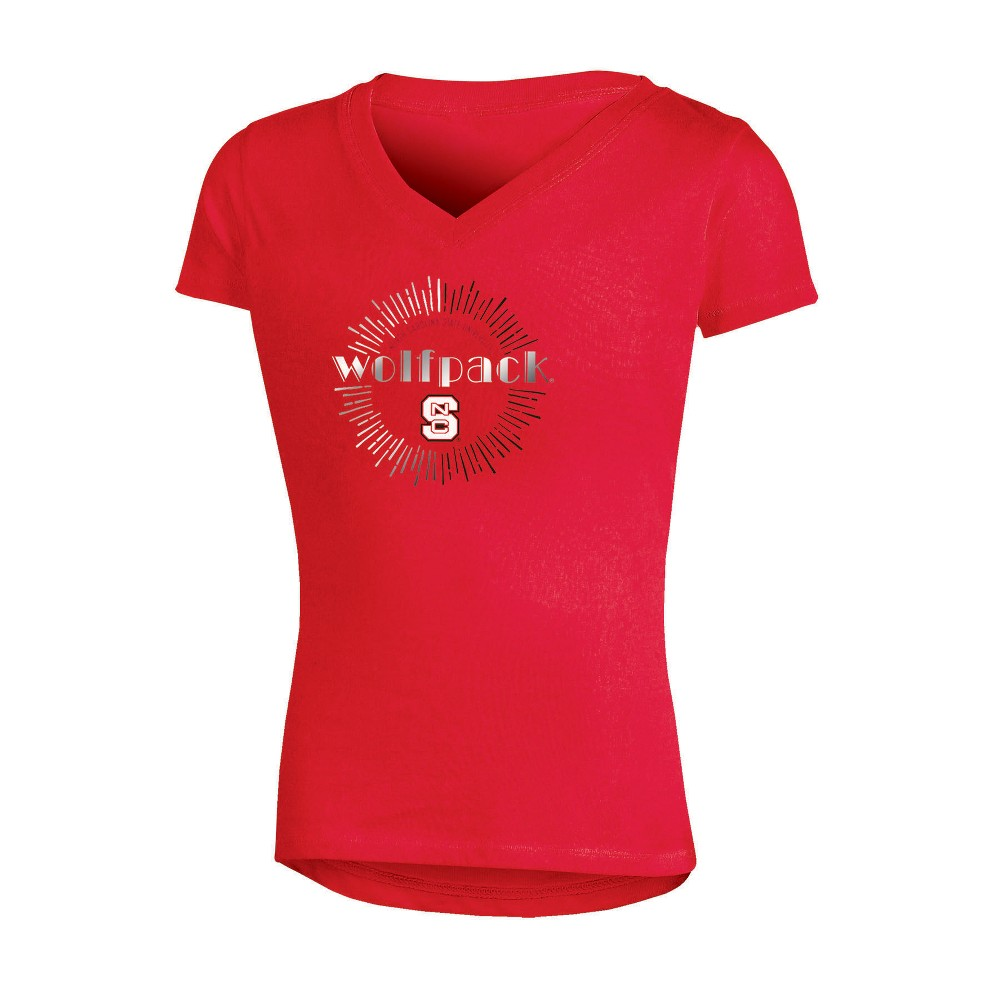 NCAA Girls' V-Neck T-Shirt NC State Wolfpack - M, Multicolored
