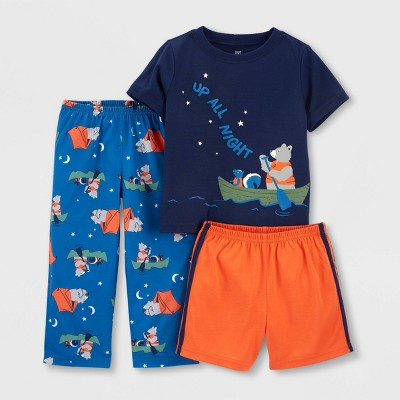 Toddler Boys' 3pc Canoe Bear Pajama Set - Just One You® made by carter's Orange/Blue