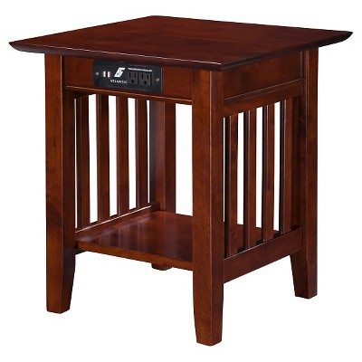Mission End Table with Charger - Walnut - Atlantic Furniture