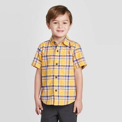 Toddler Boys' Short Sleeve Plaid Button-Down Shirt - Cat & Jack™ Yellow 12M