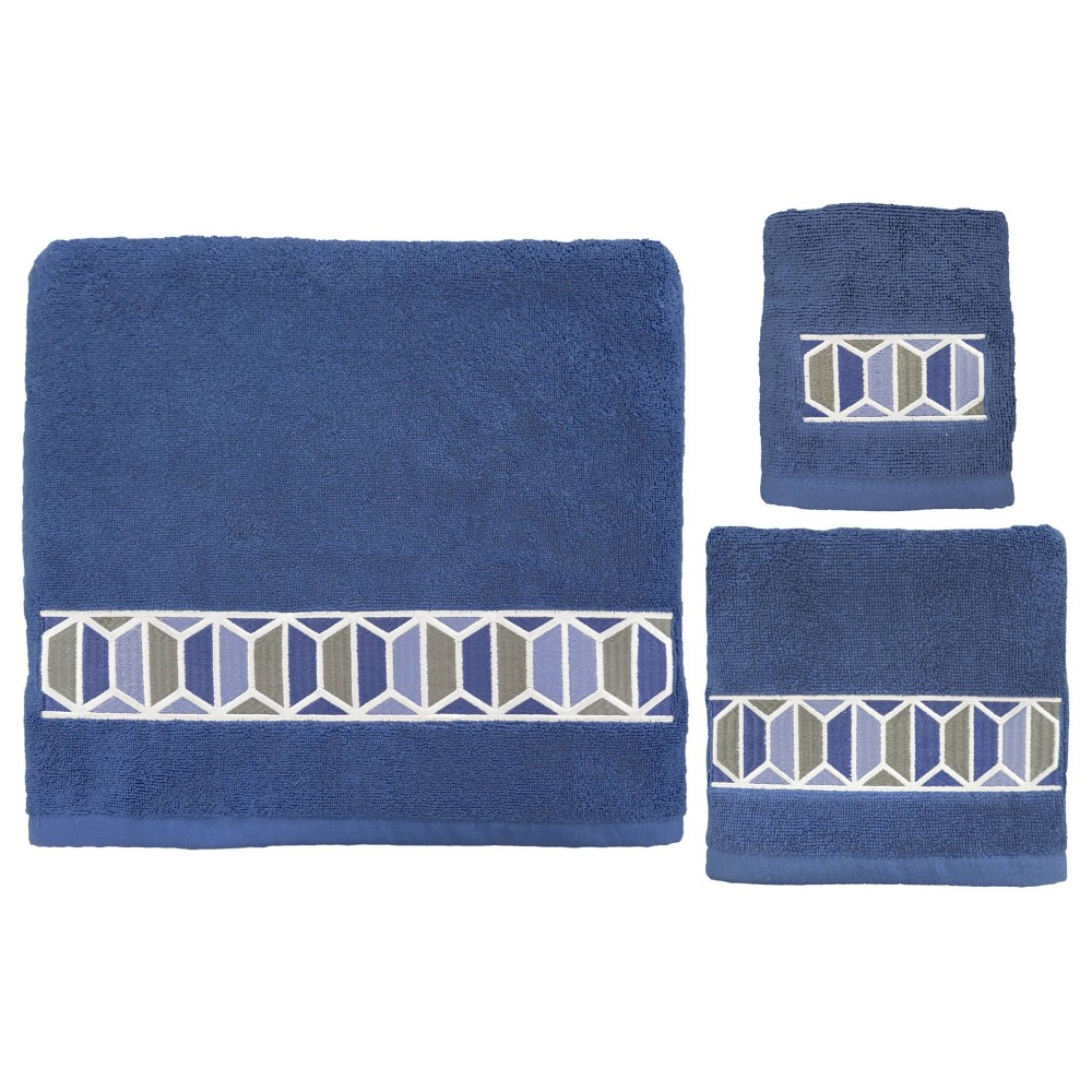Image of 3pc Hexagon Border Bath Towel Sets Blue - Allure Home Creation