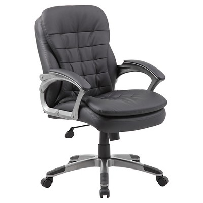 Executive Mid Back Pillow Top Chair Black - Boss Office Products : Target
