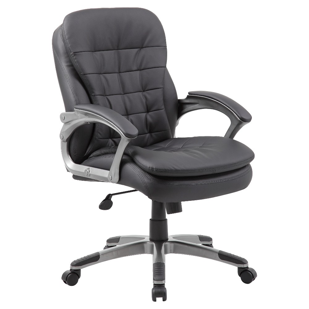 Executive Mid Back Pillow Top Chair Black - Boss Office Products
