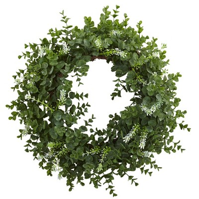 """18"""" Artificial Eucalyptus and Twig Wreath - Nearly Natural"""