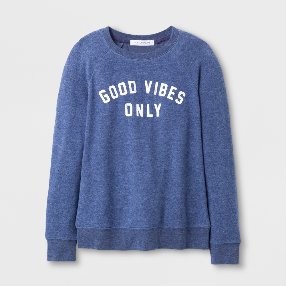Grayson Social Girls' Good Vibes Only Graphic Pullover Sweater - Dark Blue L