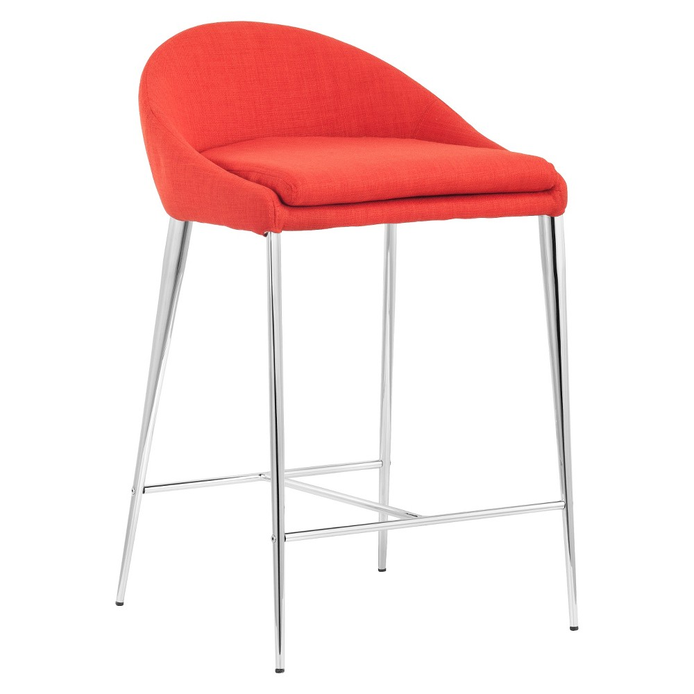 Svelte Mid-Century Modern 24 Counter Chair - Tangerine (Orange) (Set of 2) - ZM Home