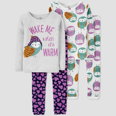 Baby Girls' 4pc Owls Pajama Set - Just One You® made by carter's Purple 9M