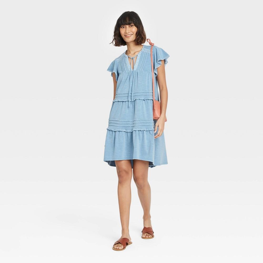 Women 39 S Flutter Short Sleeve Knit Tiered Dress Knox Rose 8482 Light Blue Xxl