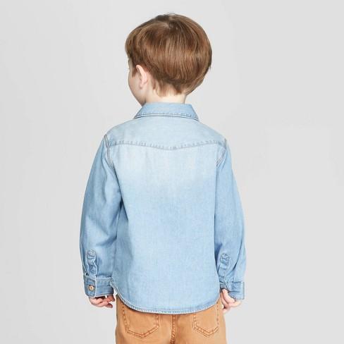 67c3cb283 Toddler Boys' Long Sleeve Chambray Button-Down Shirt - art class™ Blue