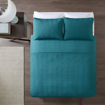 3pc Full/Queen Melva Embossed Coverlet Set Teal