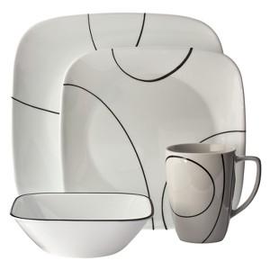 Corelle Square 16pc Dinnerware Set Simple Lines, White Black