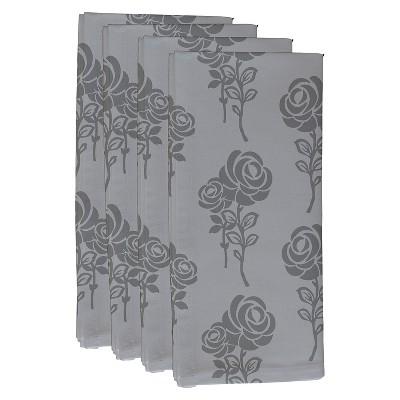 Gray Carmen Floral Print Napkin Set (19 X19 )- E By Design