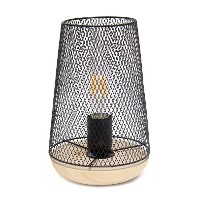 Wired Mesh Uplight Table Lamp Black - Simple Designs