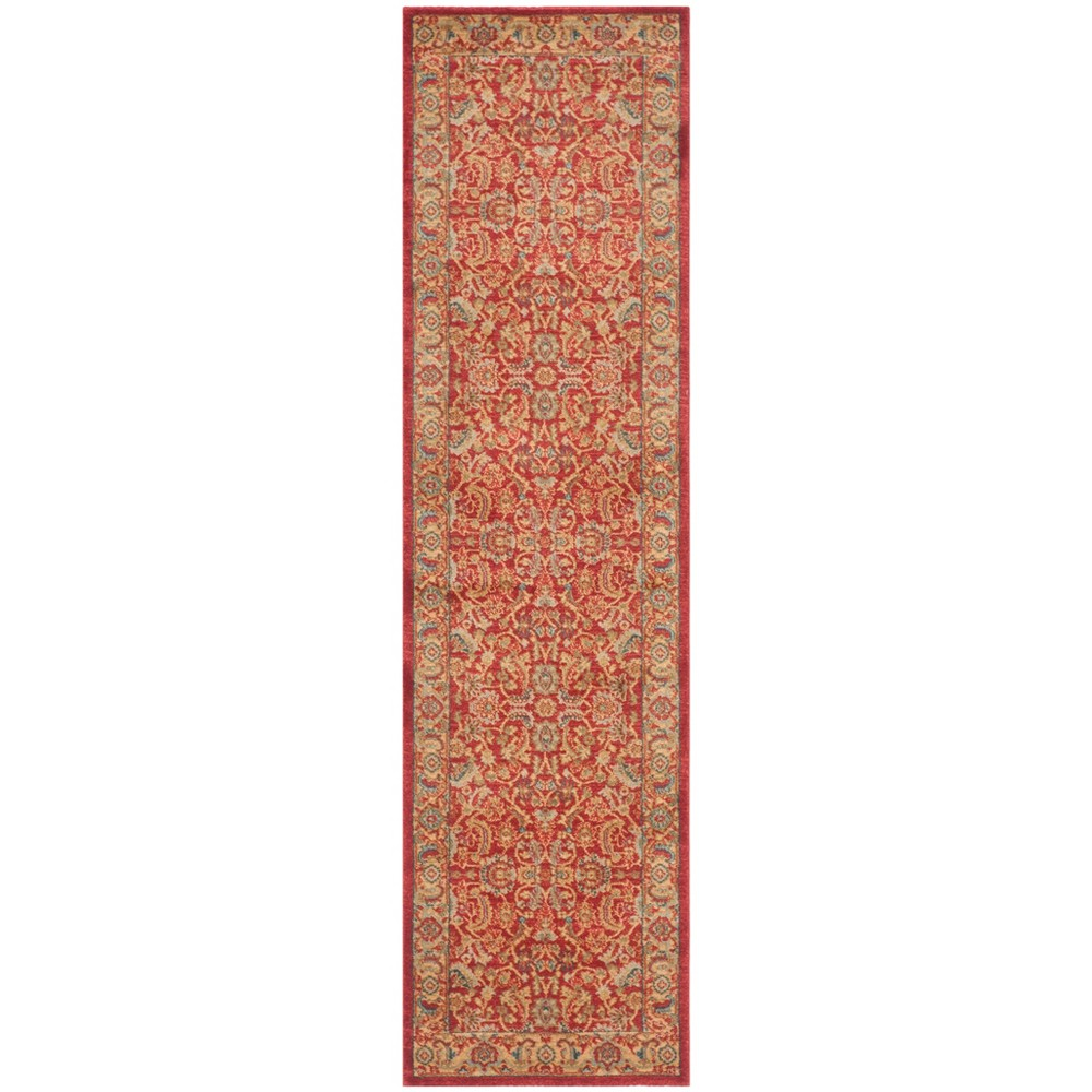 Loomed Floral Runner Rug Red