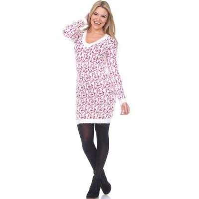 Women's Angora Leopard Print Sweater Dress - White Mark