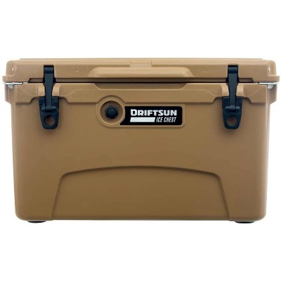 Driftsun Heavy Duty Rotomolded Thermoplastic UV Resistant Portable 45 Quart Insulated Hardside Ice Chest Beverage Cooler, Tan