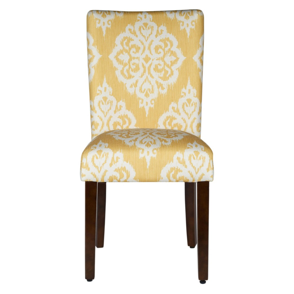 Parson Dining Chair Wood/Damask Yellow (Set of 2) - HomePop