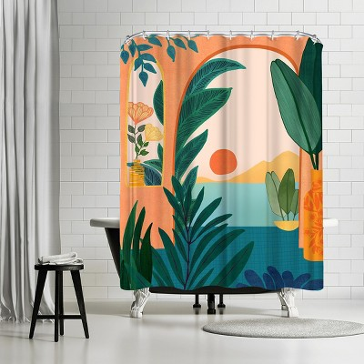"""Americanflat Ocean View by Modern Tropical 71"""" x 74"""" Shower Curtain"""