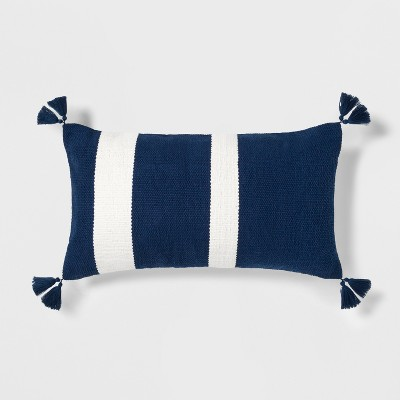 Stripe Throw Oversize Lumbar Pillow Blue/White - Threshold™