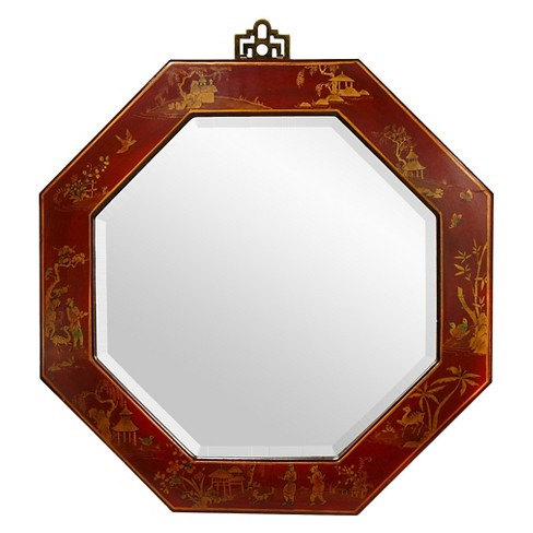 Round Lacquer Decorative Wall Mirror Red - Oriental Furniture : Target