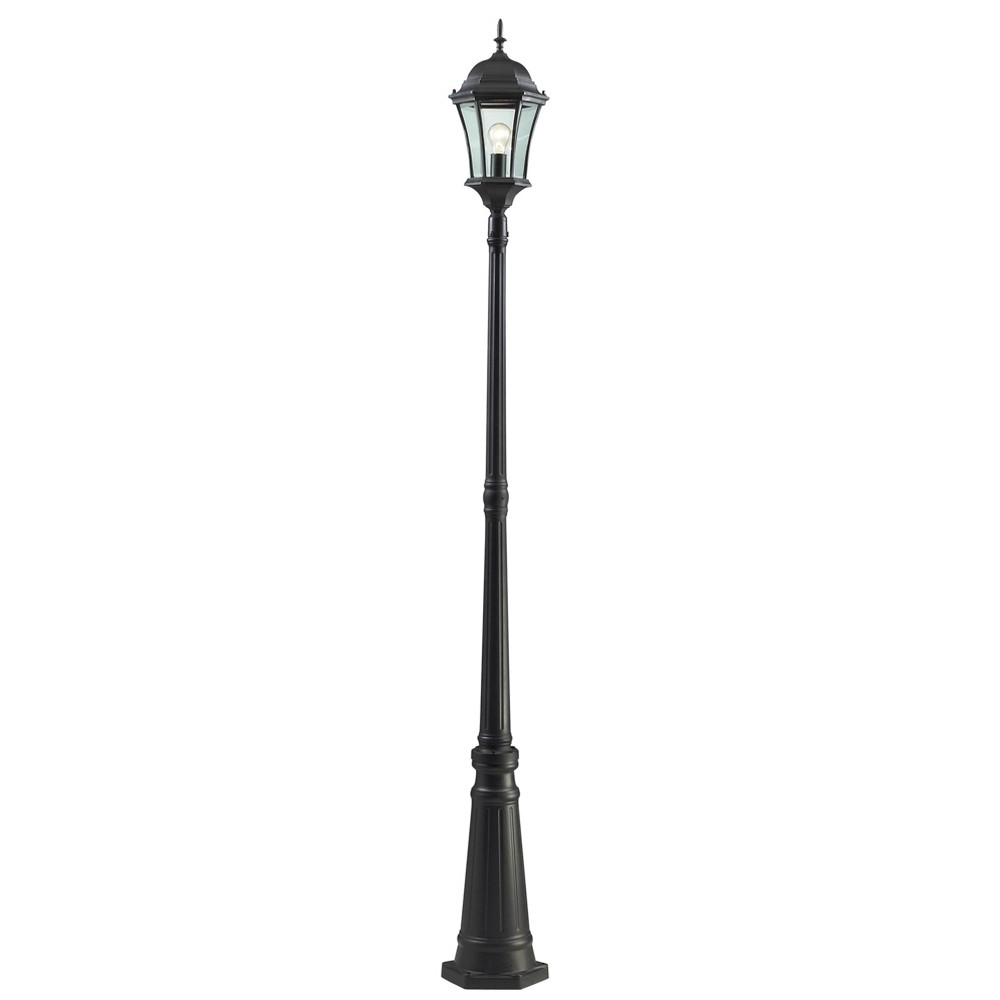 1 Light Classic Outdoor Lamp Post With Beveled Glass Shade Black Aurora Lighting