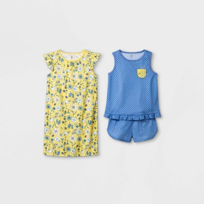 Girls' 3pc Floral Pajama Set - Just One You® made by carter's Yellow