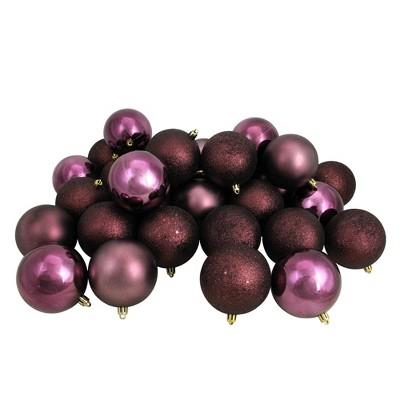 "Northlight 32ct Shatterproof 4-Finish Christmas Ball Ornament Set 3.25"" - Purple"