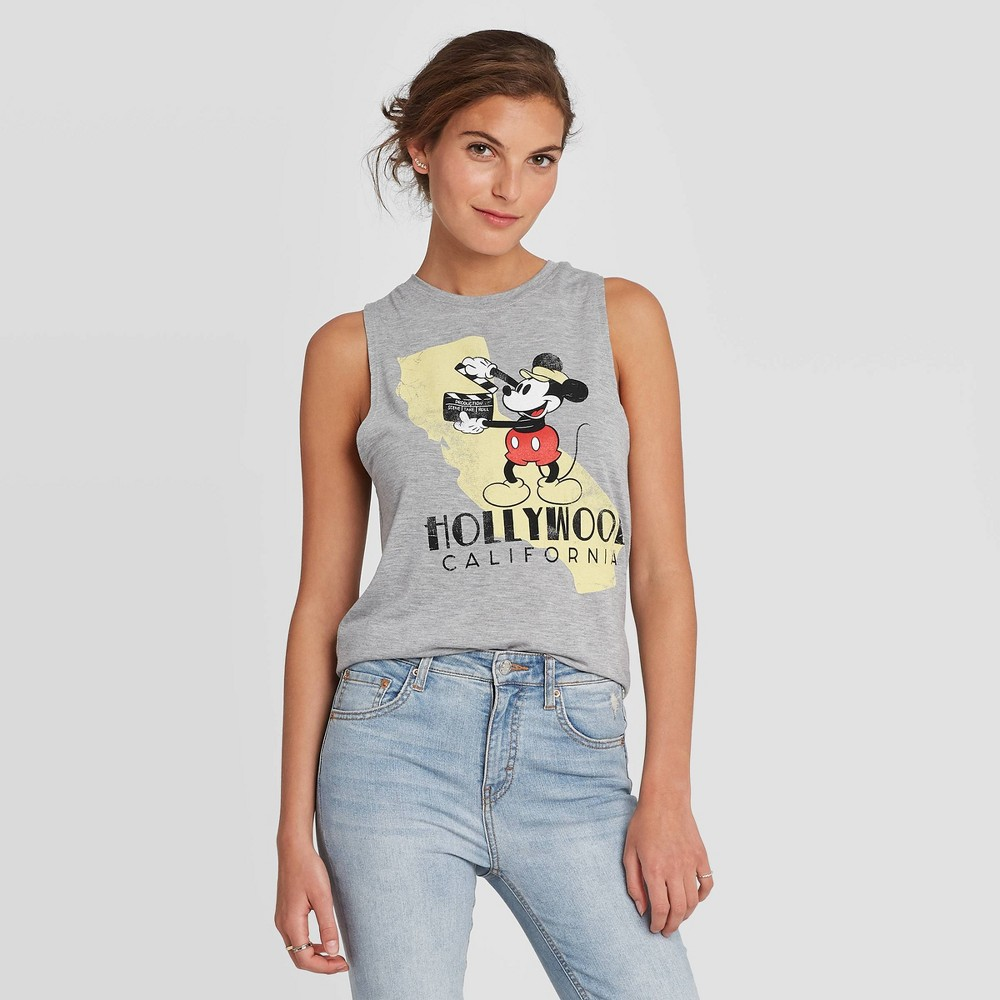 Image of Women's Disney Round Neck Mickey Hollywood Muscle Graphic Tank Top - Gray XL, Women's