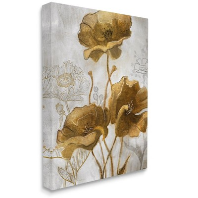 Stupell Industries Silver and Gold Poppies Abstract Flower Field