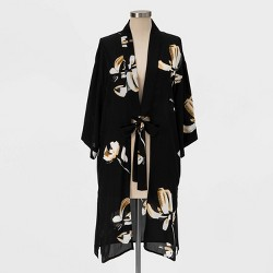 Women's Floral Print Kimono - A New Day™ Black