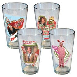 Warner Bros. A Christmas Story 16oz 4pk Glass Parker Family Values Glasses