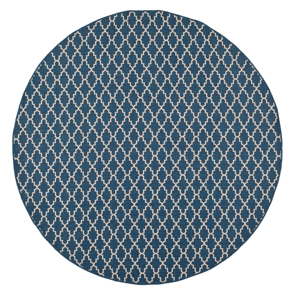 Lamare Round 4' Patio Rug - Navy/Beige - Safavieh, Blue