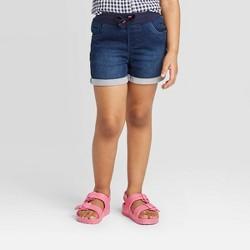 Toddler Girls' Rolled Hem Jean Shorts - Cat & Jack™ Dark Blue