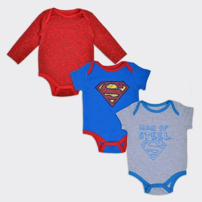 Boys' Superman® Man of Steel 3pk Bodysuit Set - Red/White/Blue 3-6M